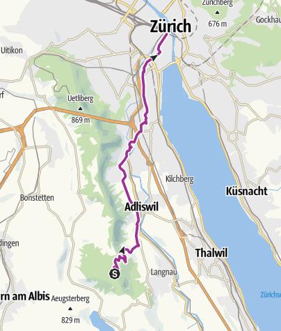 Karte / Schleifenroute CH / Albis - Zürich / Etappe 22