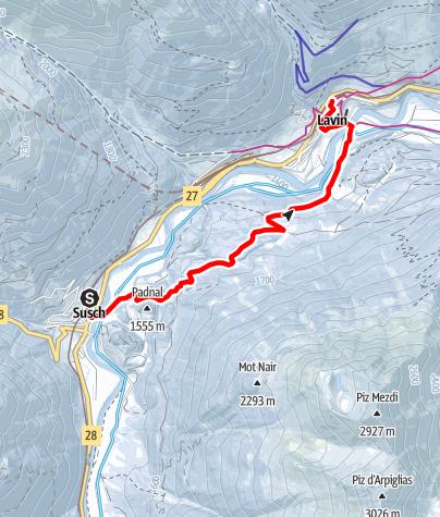 Map / Susch - Prasüra - Lavin