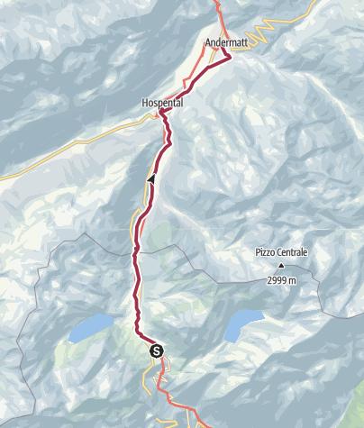 Karte / Schleifenroute CH / Gotthardpass - Andermatt / Wanderung 2