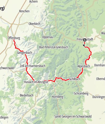 Karte / Naturpark-Radweg Etappe 1 - von Freudenstadt nach Offenburg