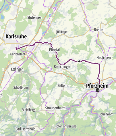Karte / Schleifenroute DE Pforzheim - Karlsruhe Etappe 34