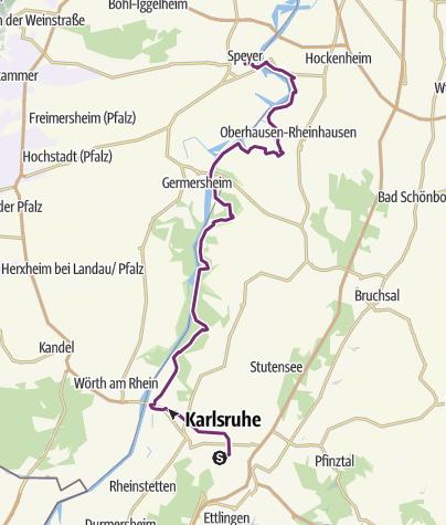 Karte / Schleifenroute DE Karlsruhe - Speyer Etappe 35