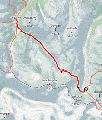 Map / Montafoner Hüttenrunde - Tübinger Hütte nach Gargellen