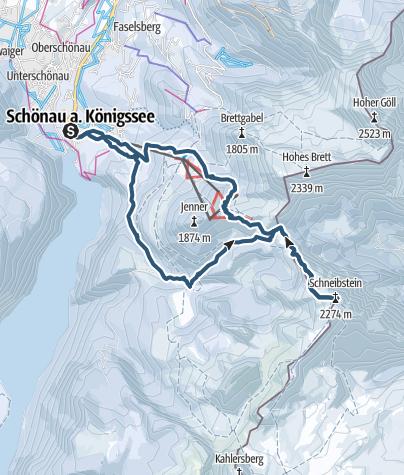 Karte /  Schneibstein Skitour vom Königssee