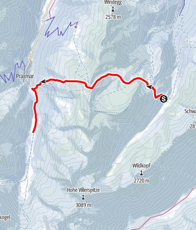 Kaart / SHR im Winter: Potsdamer Hütte - Lüsens, 2.Etappe Sellrainer Hüttenrunde