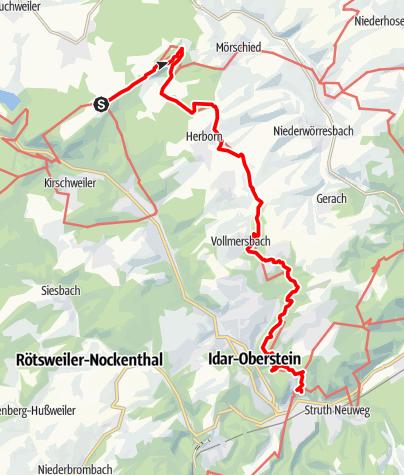Karte / Saar-Hunsrück-Steig - 12. Etappe: Kempfeld - Herborn - Idar-Oberstein (Altstadt)