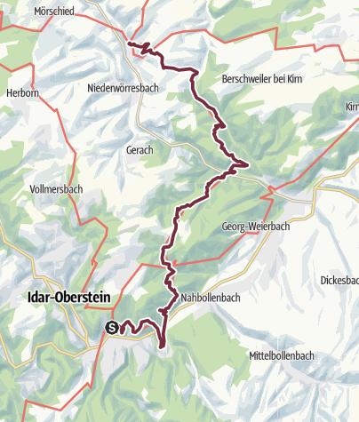 Karte / Saar-Hunsrück-Steig - 13. Etappe: Idar-Oberstein (Altstadt) - Fischbach - Herrstein