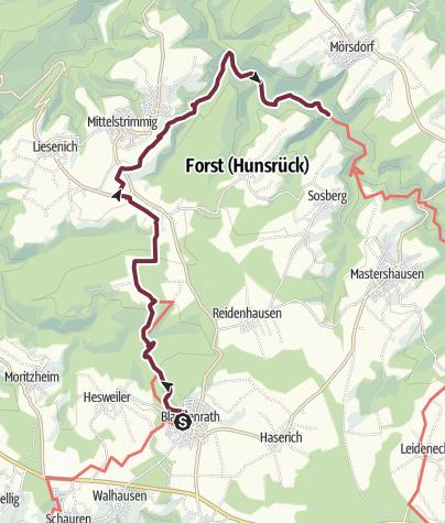 Karte / Saar-Hunsrück-Steig - 19. Etappe: Blankenrath - Mittelstrimmig - Mörsdorf