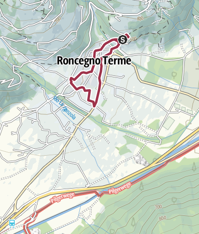 Kaart / A stroll in the historical city centre of Roncegno Terme