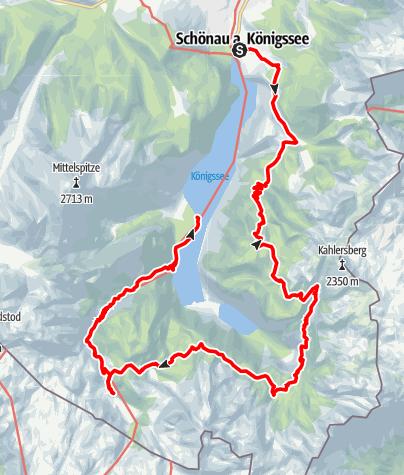 Kaart / Das Steinerne Meer: Hüttentour um den Königssee