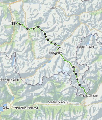 Karte / 33 Via Albula/Bernina (10 Etappen)