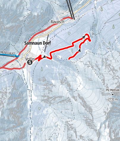 Karte / Samnaun-Schlittelweg