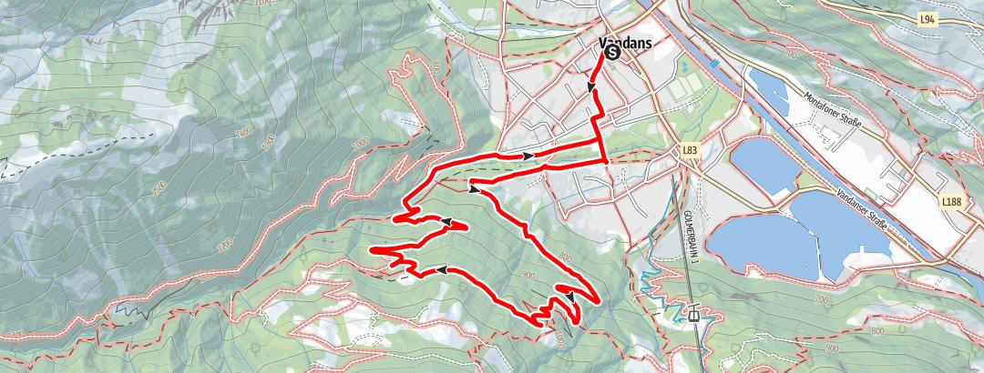 Karte / Vandans über Mansaurakapelle und zurück