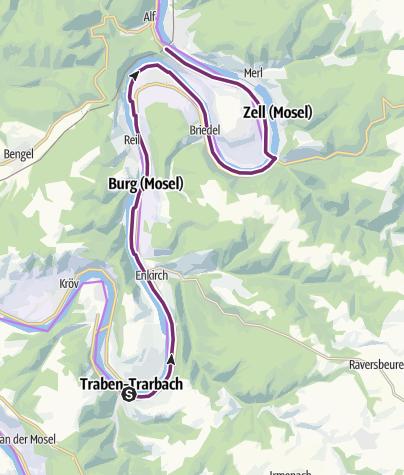 Kaart / Mosel-Radweg Etappe 8: Von Traben-Trarbach bis Bullay