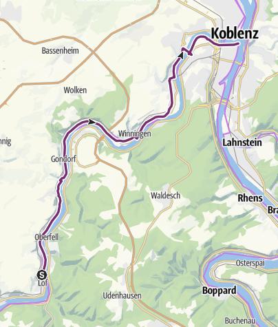 Karte / Mosel-Radweg Etappe 11: Von Löf bis Koblenz
