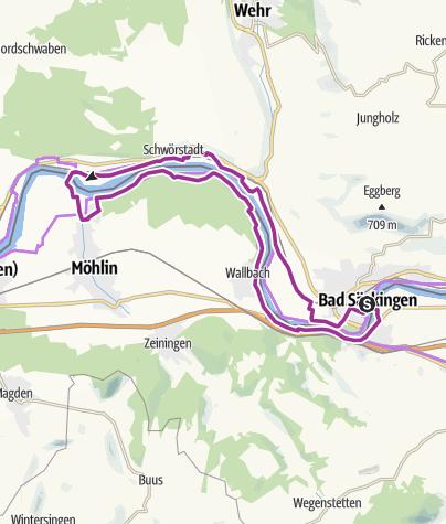 """Karte / Bad Säckingen: Fahrradtour """"An den Ufern des Hochrheins auf Römerspuren"""""""
