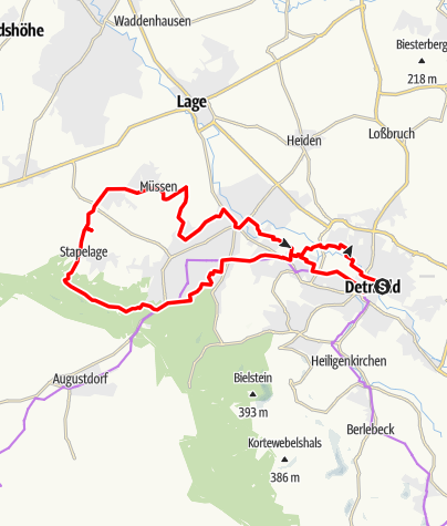 Karte / ADFC-Tourenvorschlag rund um Detmold