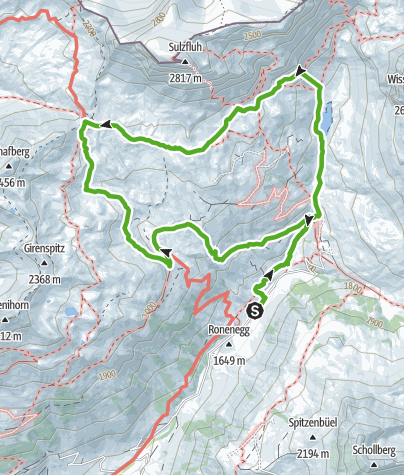 Karte / Wanderung zur Carschina Furgga St. Antönien