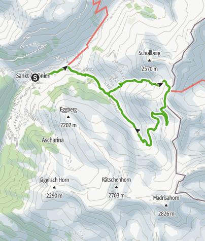 Karte / Hinauf aufs St. Antönier Joch!