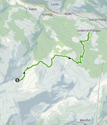 Karte / Vom Heuberg hinunter nach Conters