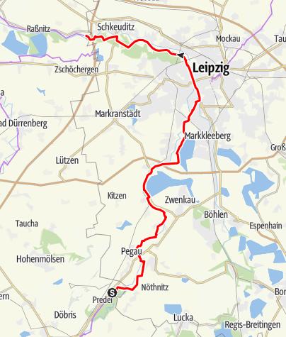 Karte / Elsterradweg zwischen Pegau und Schkeuditz