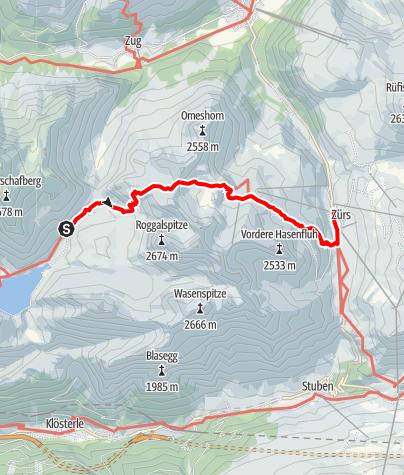 Kaart / Lechquellenrunde - Etappe 5: Ravensburger Hütte - Zürs