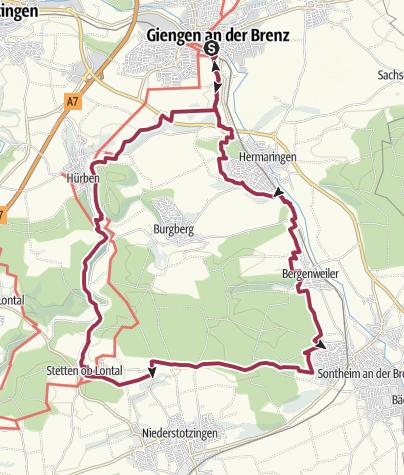Karte / Albschäferwanderweg - Wochenendtour im Brenz- und Lonetal