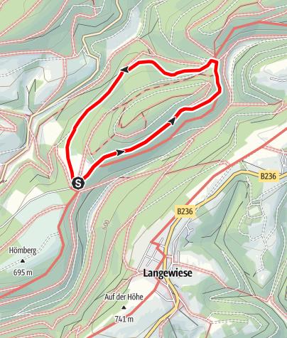 Karte / Rundweg vom Parkplatz Hoher Knochen (A1)