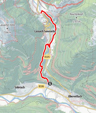 Karte / Groppenstein- und Rabisch-Schlucht