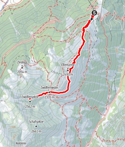 Mapa / Elfer Bergstation - Elferhütte - Elferspitze - Zwölfernieder - Zwölferspitze