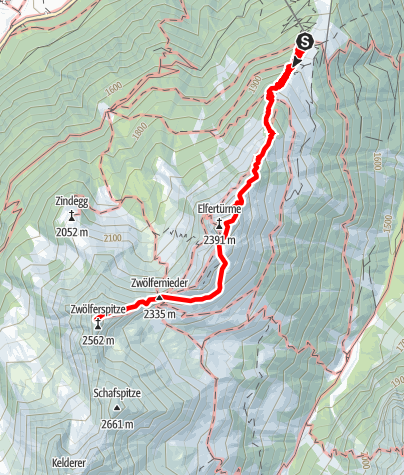 Map / Elfer Bergstation - Elferhütte - Elferspitze - Zwölfernieder - Zwölferspitze
