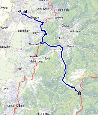 Karte / Bühl - Vom Westweg zum Ortenauer Weinpfad
