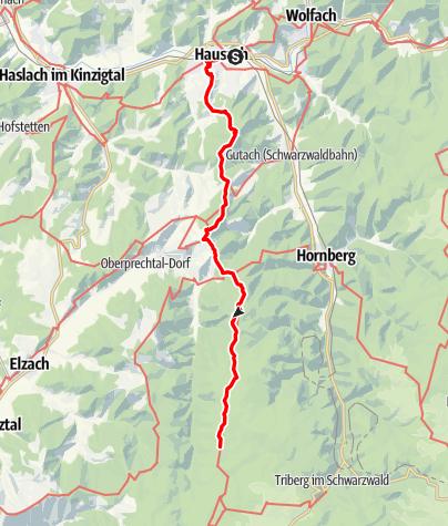 Karte / Westweg-Etappe 07: Hausach - Wilhelmshöhe (Schonach)