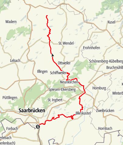 Map / ' Saar-Nahe-Höhen'  Cycle Route