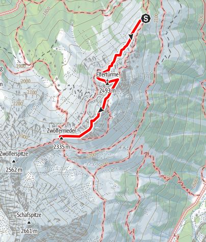 Cartina / Via ferrata Elfer Nordwand