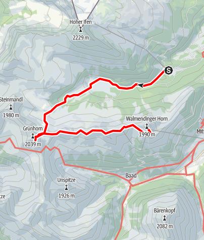 Karte / Walmendinger Horn - Grünhorn