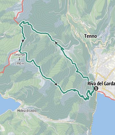 Map / 2 days in the mountains of Garda Trentino: Riva del Garda - Rifugio Pernici