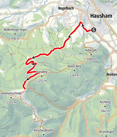 Karte / Bergsprint auf die Gindelalm