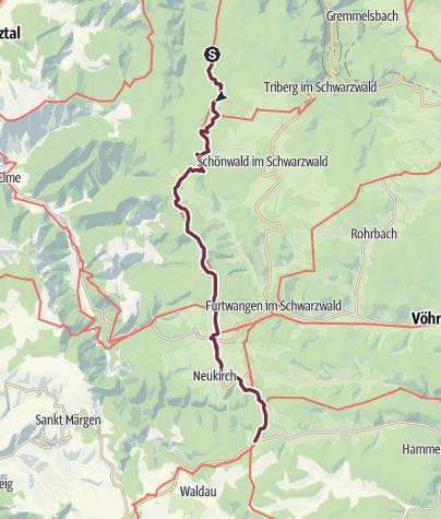 Karte / Westweg-Etappe 08: Wilhelmshöhe (Schonach) - Kalte Herberge