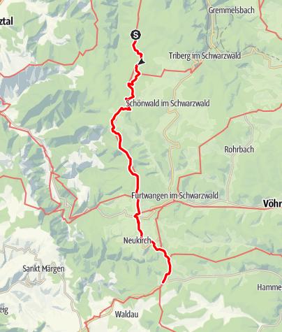 Carte / Westweg: étape 08 (Wilhelmshöhe/Schonach - Kalte Herberge)