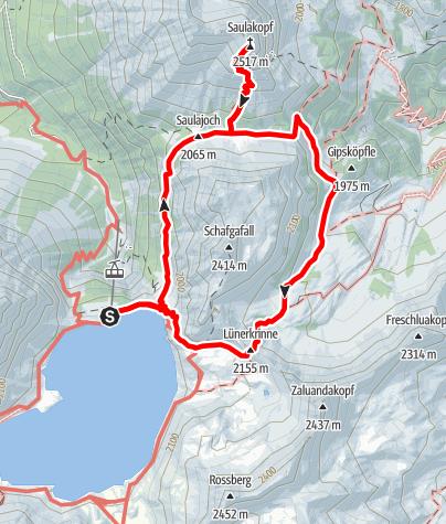 Kaart / Vom Lünersee auf den Saulakopf