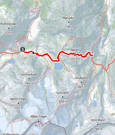 Karte / Etappe 5: Sulzenau Hütte – Nürnberger Hütte