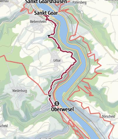 Carte / Rheinblicke am Rande des Hunsrücks - von Oberwesel bis St. Goar