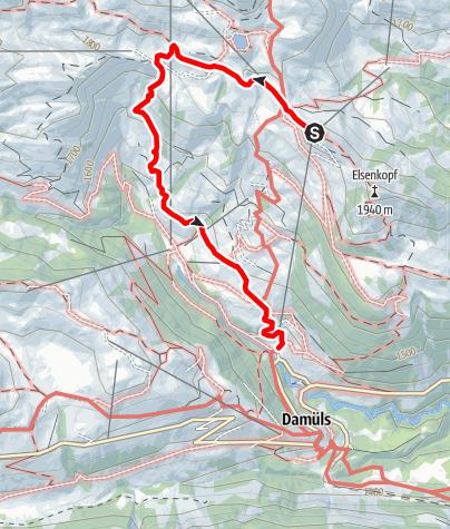 Karte / Damüls   Von der Elsenalp über Hasenbühel ins Tal