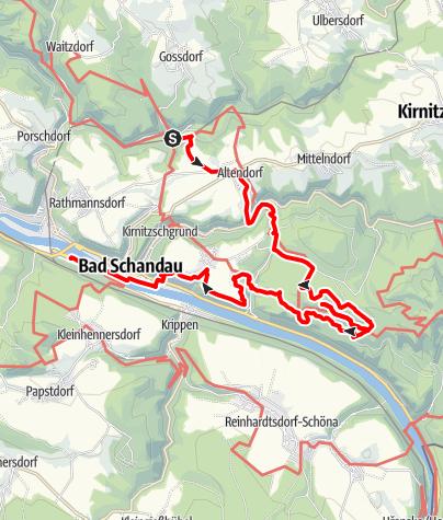 Mapa / Wanderung zu den Schrammsteinen