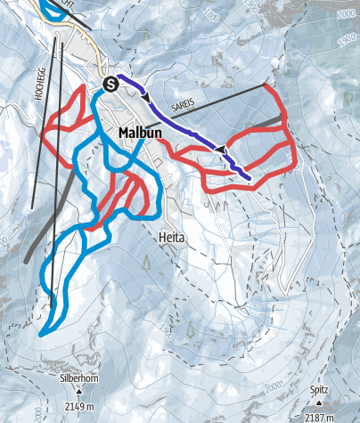 Karte / Rodeln in Liechtenstein: Von Turna nach Malbun