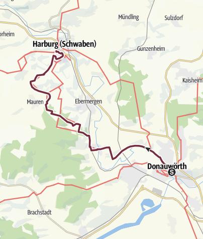 Karte / Albsteig (HW1) – Etappe 1 – Von Donauwörth nach Mönchsdeggingen