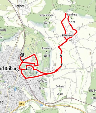 Karte / Nordic Walking auf dem Gesundheits- und Fitness-Parcours Bad Driburg, Tour 6