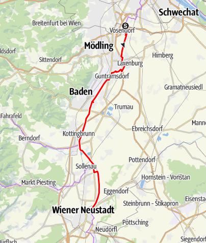 Mapa / Cyklotrasa Thermenradweg – popri kanáli Wiener Neustädter Kanal