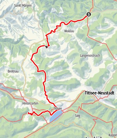 Carte / Westweg: étape 09 ouest (Kalte Herberge - Hinterzarten)